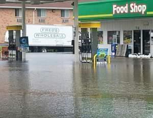 Flooding conditions around a gas station in Watseka in a picture taken on Monday