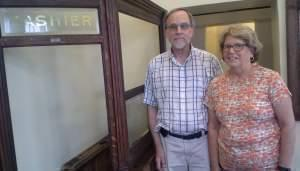 Rick Moss and Janet Moss at the Farmers and Merchants Bank Museum in Bismarck, Illinois.