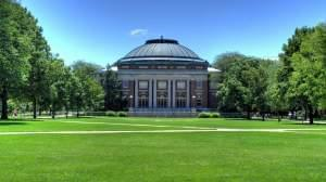 Foellinger Auditorium on the main quad of the University of Illinois Urbana campus.