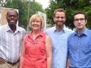 Doug Williams, Rev. Cindy Shepherd and Brian Sauder with Pastor Michael Crosby of the First Mennonite Church