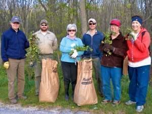Garlic Mustard Hunt participants, left to right: John McWilliams, Nathan Hudson, Eileen Borgia, Mike Daab, Cindy Strehlow, Susan Campbell.; at Homer Lake Forest Preserve