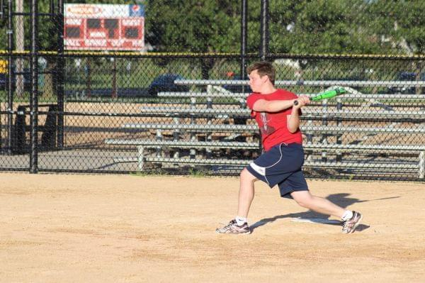Wild Bohrs player and UIUC physics grad student Kenny Schlax takes a mighty swing.
