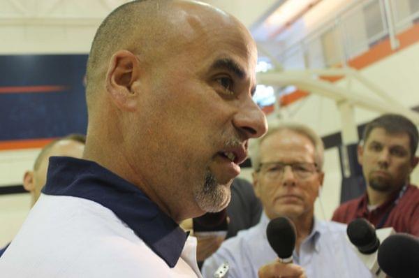Former Illini Women's Basketball head coach Matt Bollant addresses the media at the Ubben Basketball Complex.