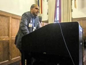 Steven Salaita speaks at the University YMCA.