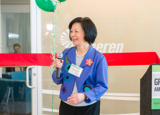 U of I Urbana Chancellor Phyllis Wise at the Ameren Innovation Center Grand Opening at the University of Illinois Research Park on March 30, 2015.