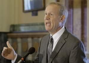 In this July 21, 2015, file photo, Illinois Gov. Bruce Rauner speaks in Springfield.