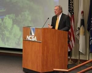 US Senator Dick Durbin addresses a large crowd at the University of Illinois Tuesday.