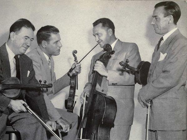Black and white photo of string quartet