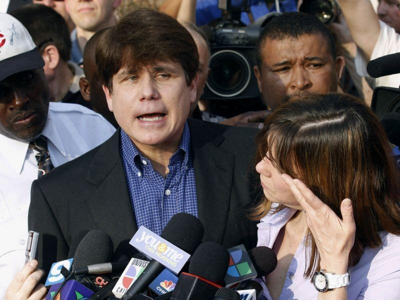 Former Illinois Governor Rod Blagojevich speaking to reporters in 2012