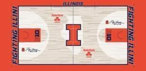 An illustration of the new basketball court featuring images of Henson's traditional orange blazer and a pair of wings that will represent the 1989 Flyin' Illini team on both ends of the court