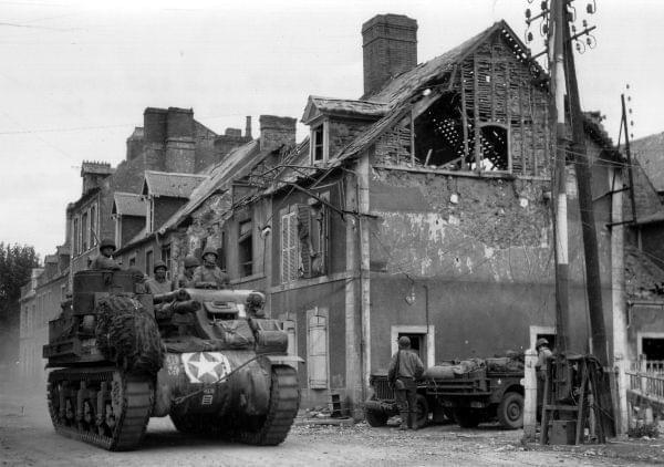 An American tank in Carentan, France - June 1944