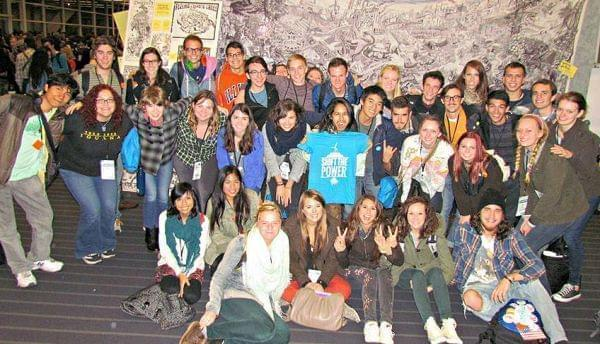 Group shot of Illinois students attending the PowerShift conference in Pittsburgh