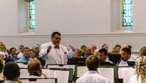David Schroeder conducts the Danville Municipal Band.