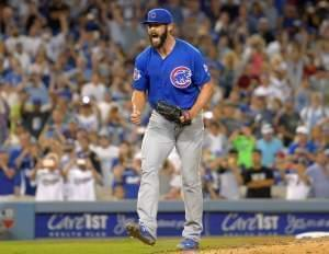 Chicago Cubs starting pitcher Jake Arrieta reacts after throwing his first career no-hitter during the ninth inning of against the Los Angeles Dodgers, Sunday, Aug. 30, 2015, in Los Angeles. The Cubs won 2-0.