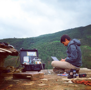 Sital Uprety works with his water samples in Nepal.