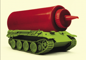 Part of the book cover of Combat Ready Kitchen - a tank ketchup bottle hybrid