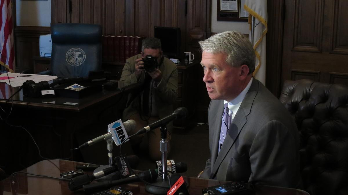 House Republican Leader Jim Durkin speaks with reporters in his Capitol office on May 31, 2015.