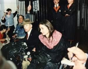 Illinois activist Marca Bristo and Justin Dart, known as the father of the ADA, at a 1989 march to the White House to call for passage of the Americans with Disabilities Act.