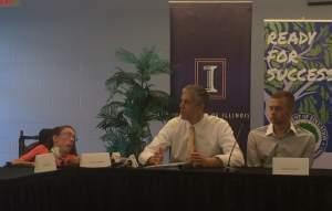 U.S. Secretary of Education Arne Duncan participates in a roundtable discussion with U of I students with disabilities on campus Wednesday.