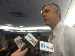 U.S. Secretary of Education Arne Duncan addresses media at the U of I on Wednesday.