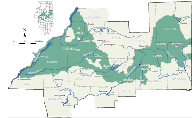 Map of the Mahomet Aquifer.
