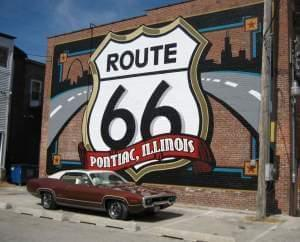 Sign outside the Illinois Route 66 Hall of Fame & Museum