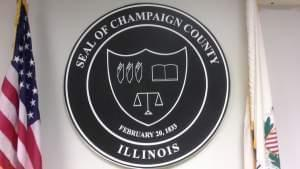 Champaign County seal, displayed in the Champaign County Boardroom.