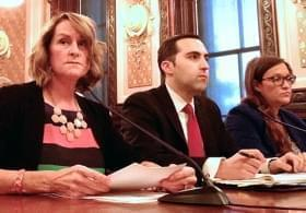 Richard Goldberg irritated Democrats while testifying before the Senate Judiciary Committee on May 28, 2015, with Senate Republican Leader Christine Radogno (left) and Jennifer Hammer (right), an attorney for the Rauner administration.