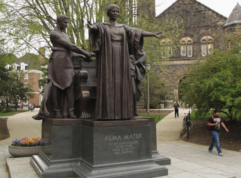 In this April 28, 2014 photo, Students walk past the Alma Mater statue, a landmark on the University of Illinois campus in Urbana.