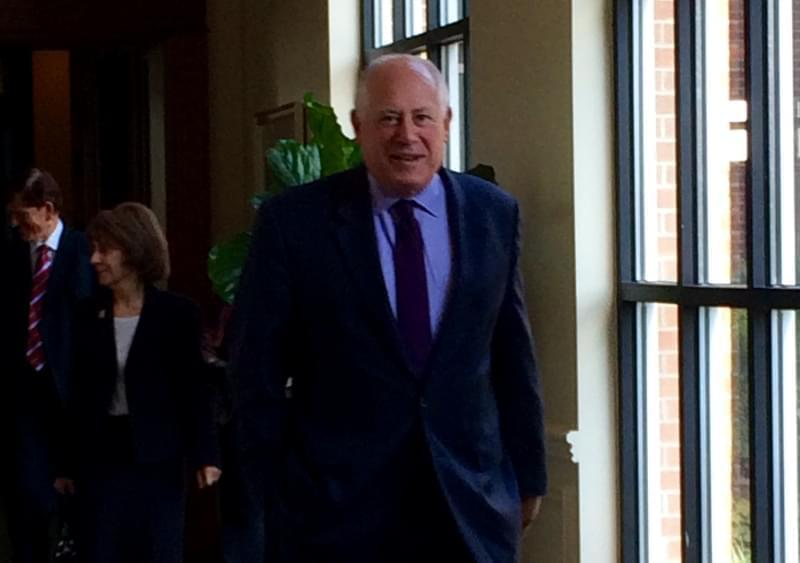 Former Gov. Pat Quinn walks toward media at the Champaign Country Club on Thursday. Quinn was in town to celebrate the opening of a new Veterans Center on the U of I campus.