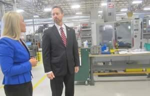 U-S Rep. Rodney Davis tours the HL Precision Manufacturing plant in Champaign.