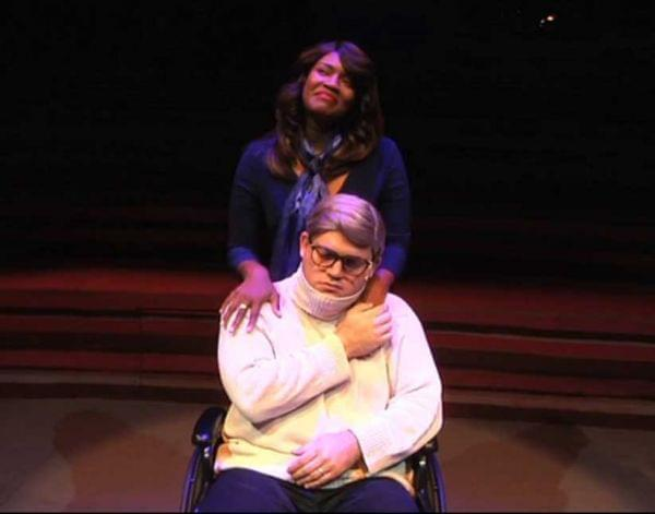 Rashada Dawan and Kevin Pollack in the roles of Chaz and Roger Ebert in 'The Black White Love Play', now playing at Chicago's Black Ensemble Theater.