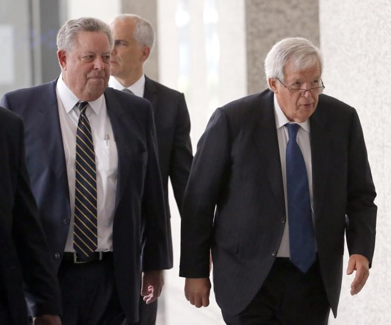 In this June 9, 2015, file photo, former House Speaker Dennis Hastert, right, departs the federal courthouse with attorney Thomas C. Green in Chicago.