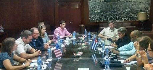 US Rep. Rodney Davis meeting with Cuban Foreign Trade officials.