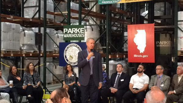 Gov. Bruce Rauner at a Decatur warehouse Friday.
