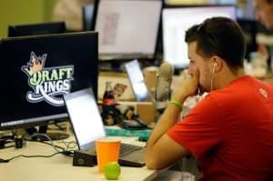 A man works on Draft King the fantacy sports website