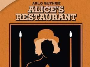 High contrast illustration of Arlo Guthrie with Alice's Reataurant text