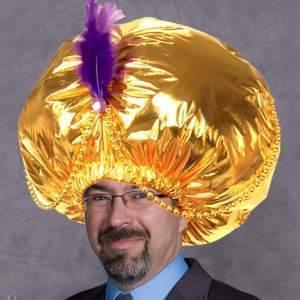 David Thiel wears a swami hat.