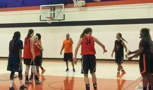 Coach Matt Bollant and members of the U of I Women's Basketball Team scrimmage at the Ubben Basketball Complex August 5.