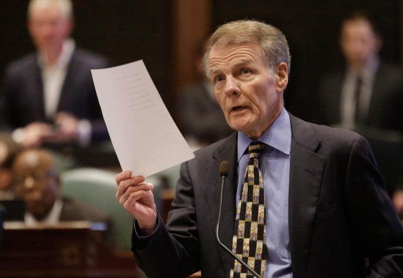 Illinois Speaker of the House Michael Madigan, D-Chicago, speaks to lawmakers while on the House floor during session at the Illinois State Capitol Tuesday in Springfield. Democrats in the General Assembly continue attempts at flanking the Republican