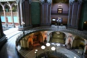 An empty Illinois state capitol building in Springfield.