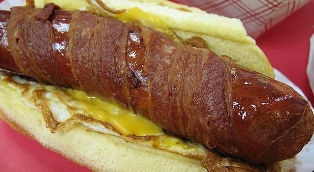 "A deep-fried, bacon wrapped ""Jersey breakfast dog."""