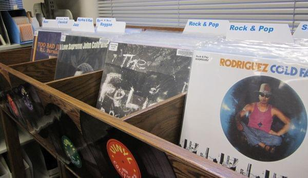 The new vinyl record collection at the Urbana Free Library.