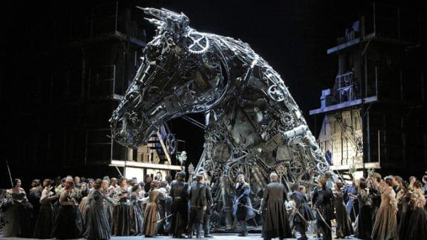 Large trojan horse on stage with full cast
