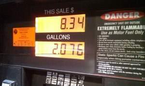 A gas pump display in Jacksonville, Florida.