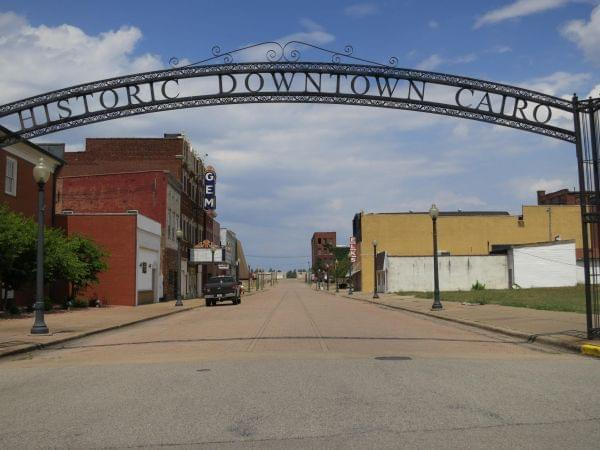 Gates outside of historic downtown Cairo, Illinois