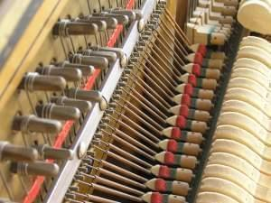 Upright piano hammers and dampers.