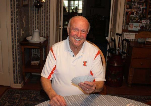 Former Illini basketball coach Lou Henson at his home in Champaign.
