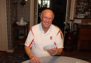 Former Illini basketball coach Lou Henson at his home in Champaign.