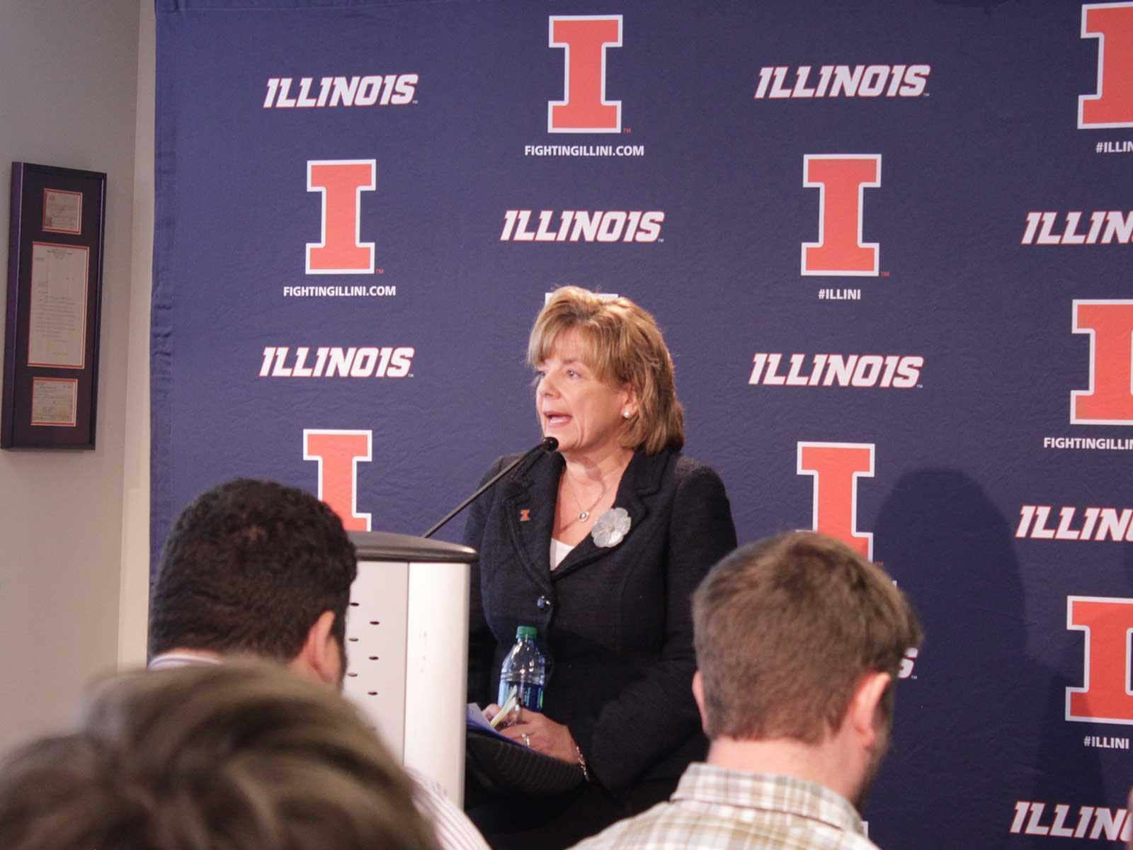 Interim Urbana Chancellor Barbara Wilson announces that Athletic Director Mike Thomas has been fired.